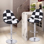 AdecoTrading Adjustable Height Swivel Bar Stool w/ Cushion (Set of 2); Black / White