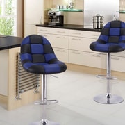 AdecoTrading Adjustable Height Swivel Bar Stool w/ Cushion (Set of 2); Black/Blue