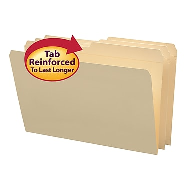 Smead®  File Folder, Reinforced 1/2-Cut Tab, Legal Size, Manila, 100 Per Box (15326)