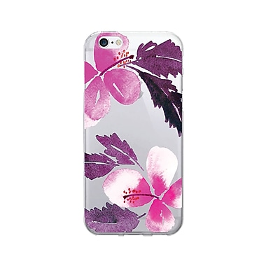 OTM Prints Clear Phone Case, Hibiscus Pink and Purple, iPhone 7/7S (OP-IP7V1CG-A-50)