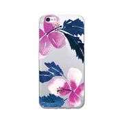 OTM  Prints Clear Phone Case, Hibiscus Pink and Blue, iPhone 7/7S (OP-IP7V1CG-A-51)