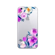 OTM Prints Clear Phone Case, Corner Peonies Purple, iPhone 7/7S (OP-IP7V1CG-A-56)
