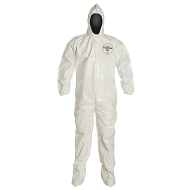 Dupont Personal Protection Coverall Tychem Sl Hood/Boot Bound Seam 2XL, 3/Pack (SL122B-2XL)