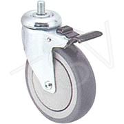 Colson – Roulette zinguée de 5 po (127 mm), roulette : pivotante avec frein, matériau : caoutchouc gris, Mi950 (Y580D-SGB-ST)