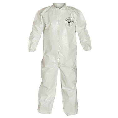 Dupont Personal Protection Coverall Tychem Sl Collar, Zip, Elastic Wht 3X, 3/Pack (SL125B-3XL)