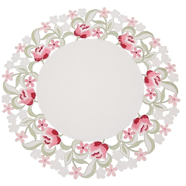 Manor Luxe Lush Rosette Embroidered Cutwork Round Placemat (Set of 4)
