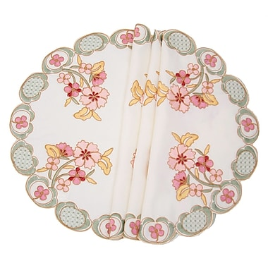 Manor Luxe Primrose Embroidered Cutwork Round Placemat (Set of 4)