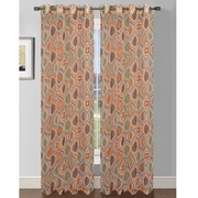 Window Elements Olivia Printed Extra Wide Sheer Single Curtain Panel; Rust