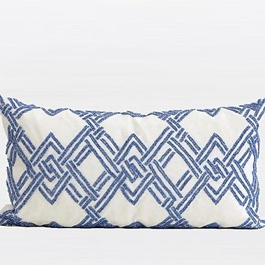 G Home Collection Handmade Textured Check Beaded Pillow Cover; Blue