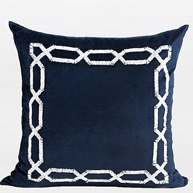 G Home Collection Handmade Textured Frame Beaded Throw Pillow; Blue