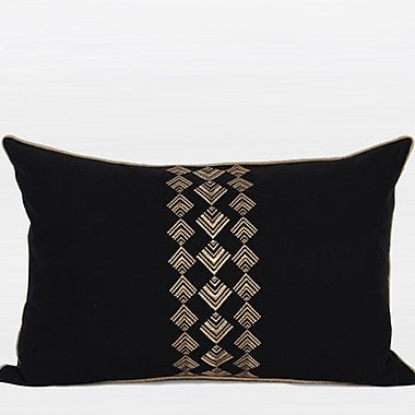 G Home Collection Geometry Pattern Embroidered Cotton Lumbar Pillow