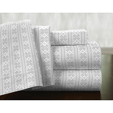 Pointehaven Fair Isle 100pct Cotton Flannel Sheet Set; California King