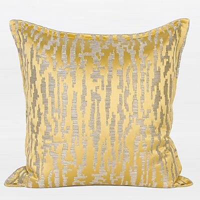 G Home Collection Nonobjective Pattern Jacquard Pillow Cover; Yellow