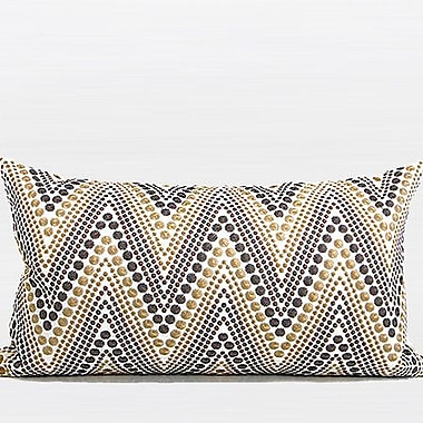 G Home Collection Luxury Chevron Embroidered Lumbar Pillow