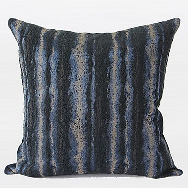 G Home Collection Luxury Stripe Metallic Chenille Pillow Cover; Blue