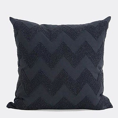 G Home Collection Luxury Chevron Embroidered w/ Bead Pillow Cover