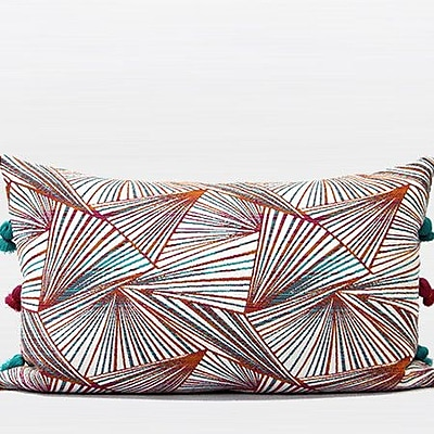G Home Collection Luxury Changing Geometric Tassels Pillow Cover; Orange