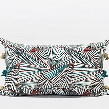 G Home Collection Luxury Geometric Tassels Lumbar Pillow; Green