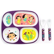 Tablescapes by Gaia Group LLC Children Melamine Gift Doll Girl 5 Piece Dinnerware Set