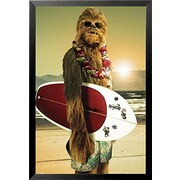 Buy Art For Less 'Star Wars Chewbacca w/ Surfboard' Framed Graphic Art