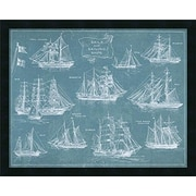 Buy Art For Less 'Sails and Sailing Ships Blueprint' Framed Graphic Art