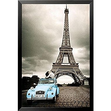 Buy Art For Less 'Paris Romance in Blue Car and Eiffel Tower' Framed Photographic Print