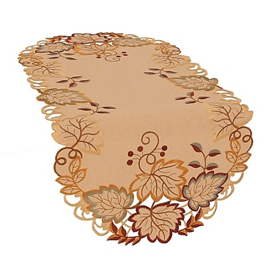 Xia Home Fashions Harvest Hues Embroidered Cutwork Fall Table Runner