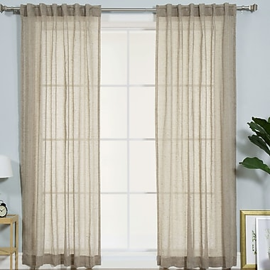 Best Home Fashion, Inc. Faux Pippin Linen Rod Pocket Curtain Panels (Set of 2); Brown