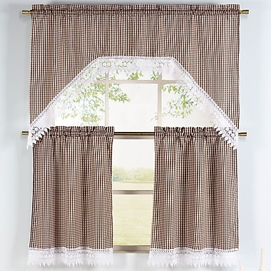 Window Elements Checkered 3 Piece Embroidered Kitchen Valance and Tier Set; Chocolate