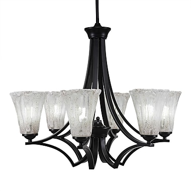 Toltec Lighting Zilo 6-Light Shaded Chandelier; Matte Black