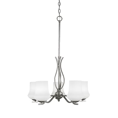 Toltec Lighting Revo 5-Light Shaded Chandelier; Aged Silver