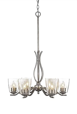 Toltec Lighting Revo 6-Light Candle-Style Chandelier; Aged Silver
