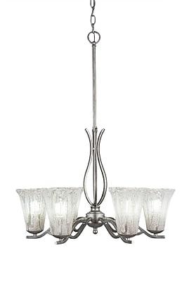 Toltec Lighting Revo 6-Light Shaded Chandelier; Aged Silver