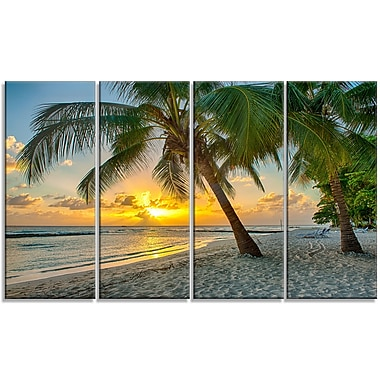 DesignArt 'Beach in Caribbean Island of Barbados' 4 Piece Photographic Print on Wrapped Canvas Set