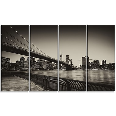 DesignArt 'Famous Landmark of Brooklyn Bridge' 4 Piece Photographic Print on Wrapped Canvas Set