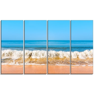 DesignArt 'Beautiful Blue Sea and Roaring Waves' 4 Piece Graphic Art on Wrapped Canvas Set