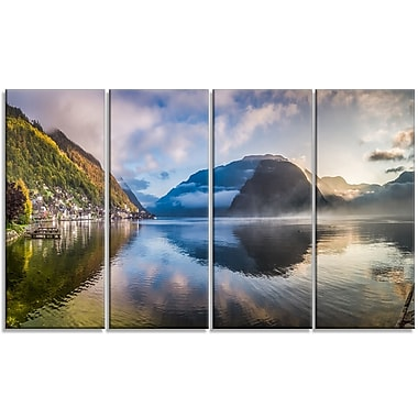 DesignArt 'Misty Lake at Dawn Panorama' 4 Piece Graphic Art on Wrapped Canvas Set