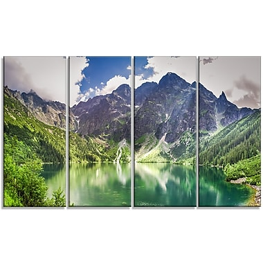 DesignArt 'Green Lake in Mountains Panorama' 4 Piece Graphic Art on Wrapped Canvas Set