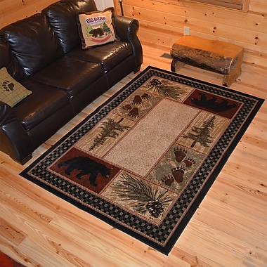 Mayberry Rug American Destinations Beige/Black Area Rug; Rectangle 5' x 8'