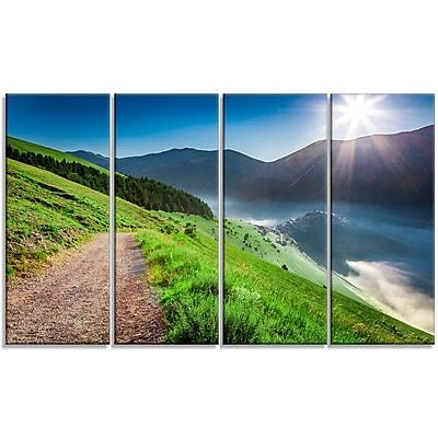 DesignArt 'Umbria Mountains Sunny Sunrise' 4 Piece Photographic Print on Wrapped Canvas Set