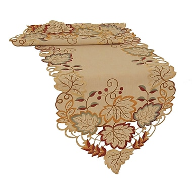 Xia Home Fashions Harvest Verdure Embroidered Cutwork Fall Table Runner; 72'' W x 15'' L