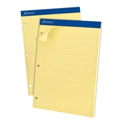 "Ampad® 3-Hole Punch Dual Notepad, 8 1/2"" x 11 3/4"", Narrow Rule, Canary, 100 Sheets/Pad (AMP20246)"
