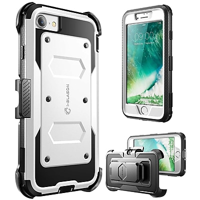 i-Blason Apple iPhone 7 Armorbox Series Fullbody Protection Case with Screen and Holster - White (752454312610)