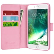 i-Blason Apple iPhone 7 Plus Synthetic Leather Wallet Case - Dalmatian Pink (752454313297)