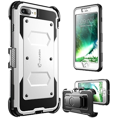 i-Blason Apple iPhone 7 Plus Armorbox Series Fullbody Protection Case with Screen and Holster - White (752454313099)