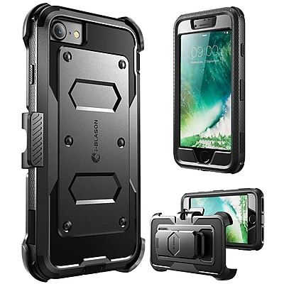 i-Blason Apple iPhone 7 Armorbox Series Fullbody Protection Case with Screen and Holster - Black (752454312573)