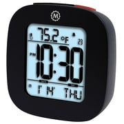 "Marathon Cl030058bk Compact Alarm Clocks w/Temp & Date, 3"" x 3"" x 1"""
