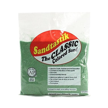Sandtastik Classic Coloured Sand, 1 lb (454 g) Bag, Moss Green, 12/Pack
