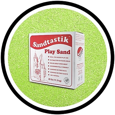 Sandtastik® Classic Coloured Sand, 25 lb (11.3 kg) Box, Fluorescent Green