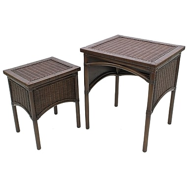 Cathay Importers - Table cigogne en osier Miramar, Espresso, paq./2